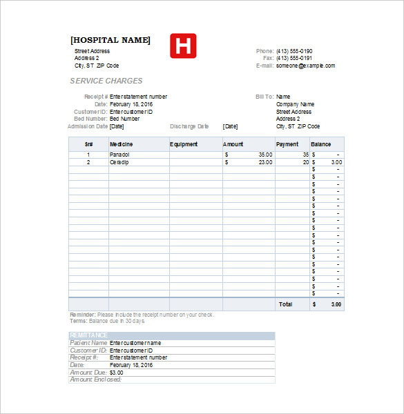 hospital invoice template