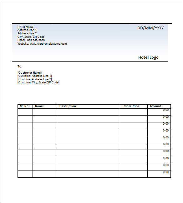 Hotel Invoice Templates 15+ Free Word, Excel, PDF Format