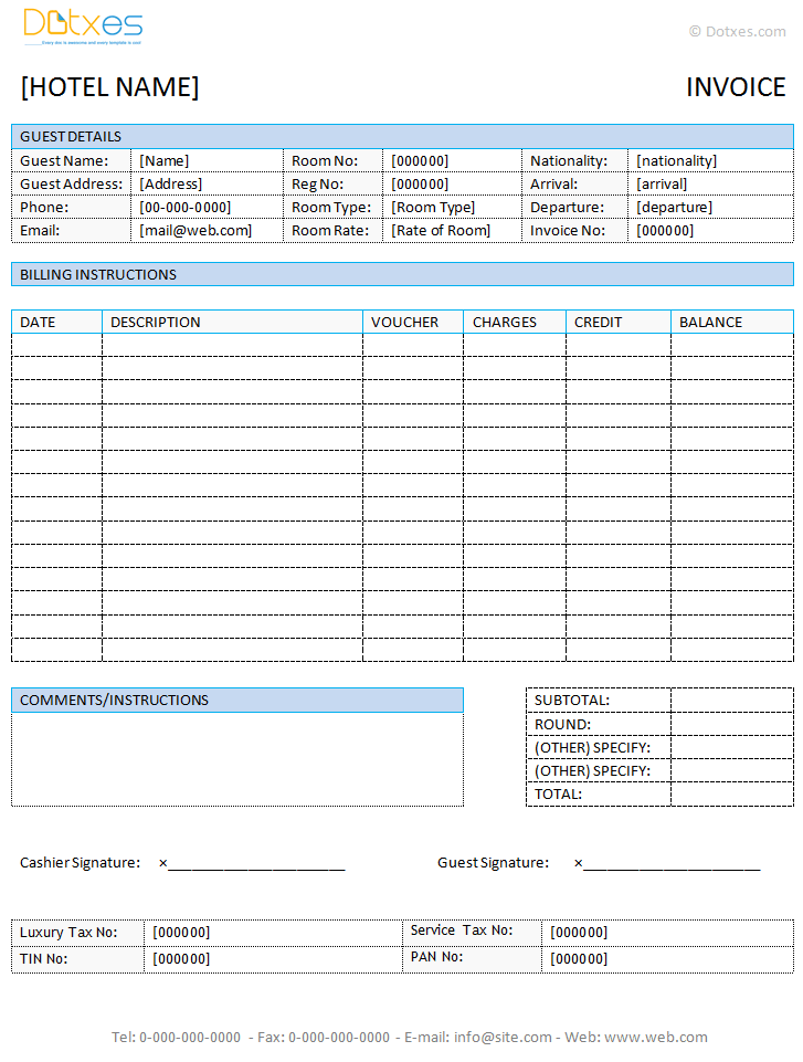 hotel invoice template word Acur.lunamedia.co