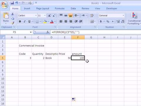 How to make an Invoice in Excel 2007.avi YouTube