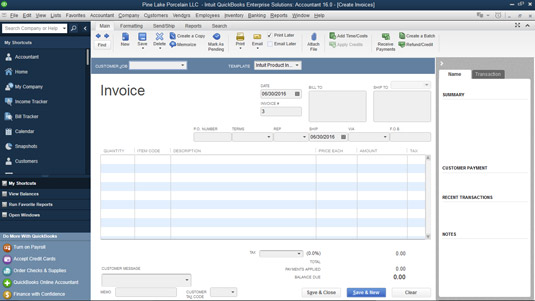How to Prepare an Invoice in QuickBooks 2016 dummies