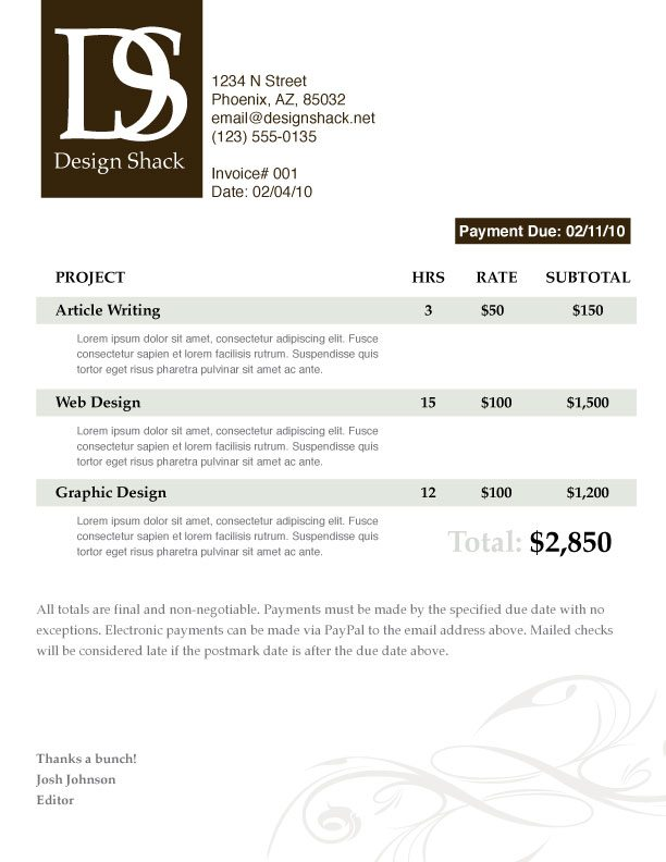 Creating a Well Designed Invoice: Step by Step | Design Shack