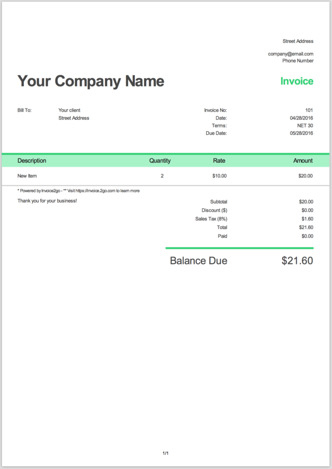 How To Make A Simple Invoice Safero Adways