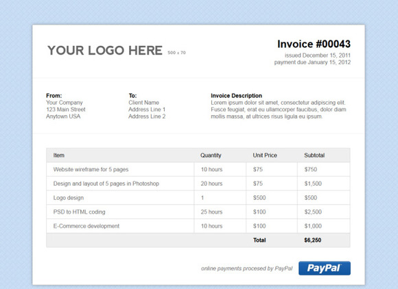 Html Invoice Template Free | Blank invoice template