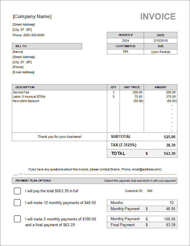 Download Invoice / Bill Excel Template ExcelDataPro