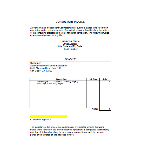 Consultant / Consulting Invoice Template – 7+ Free Word, Excel