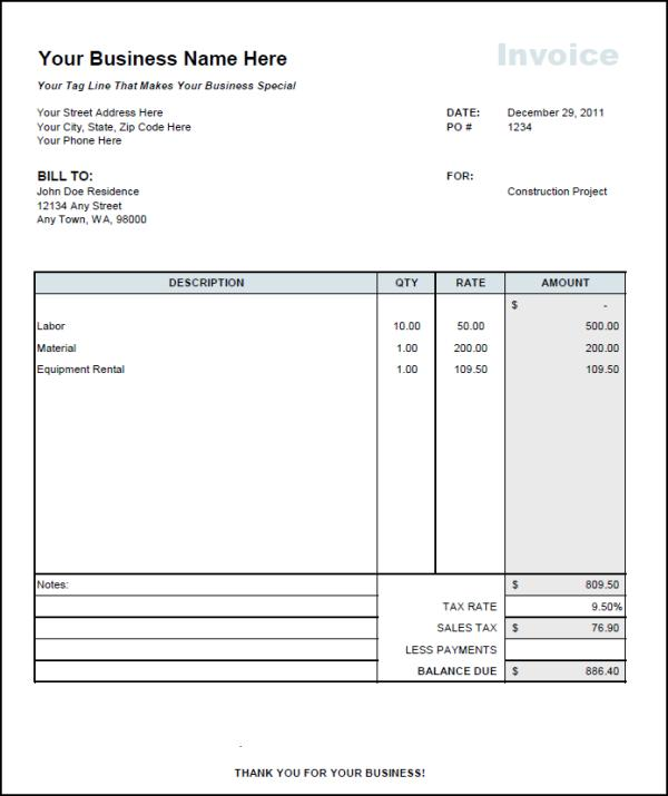 Invoice For Independent Contractor Contractor Invoice Template