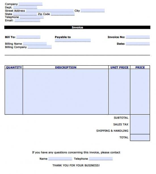 Free Personal Invoice Template | Excel | PDF | Word (.doc)