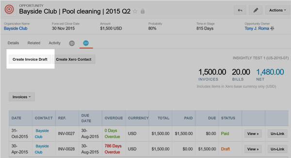 Linking a Xero invoice or bill to an opportunity or project