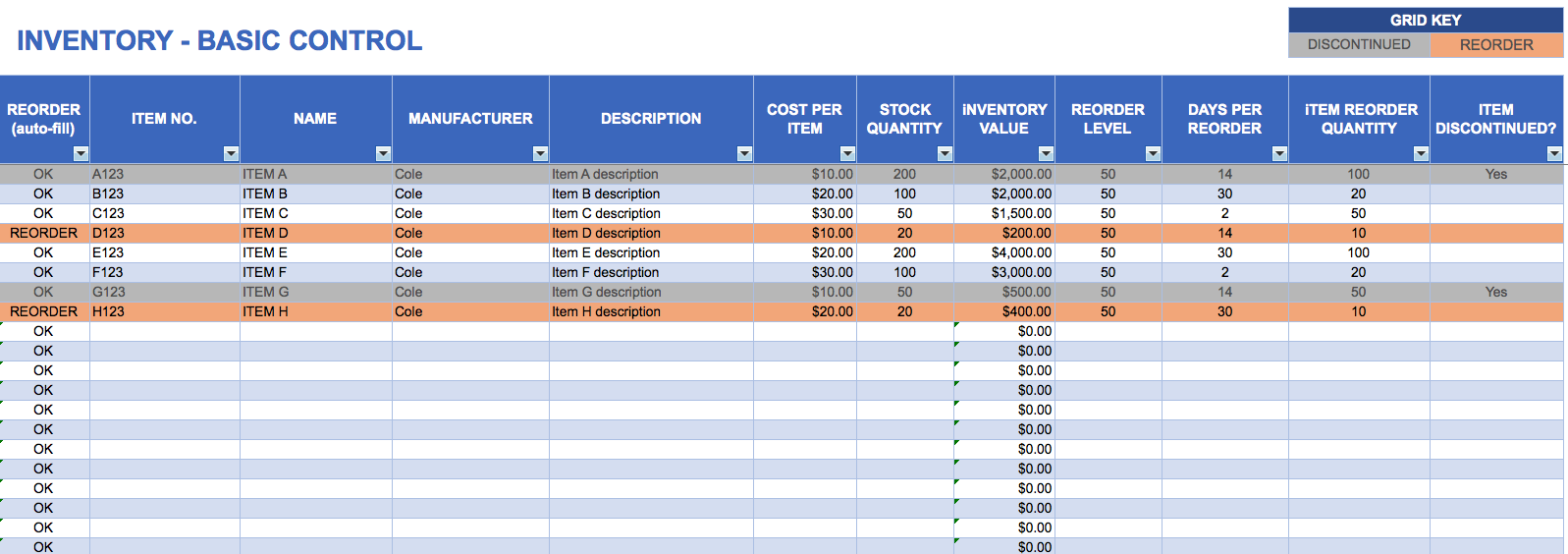 Excel Templates Business Inventory Management Template