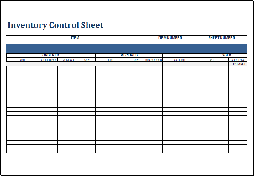 Free Excel Inventory Templates