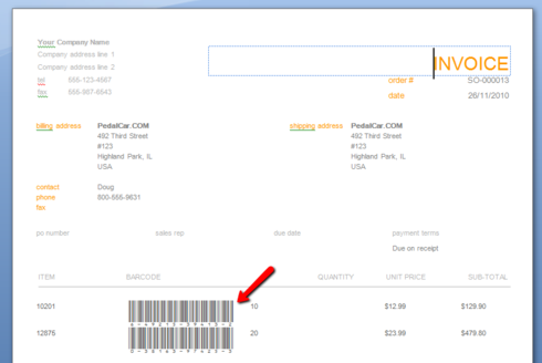 How do I print barcodes on my invoices in inFlow On Premise