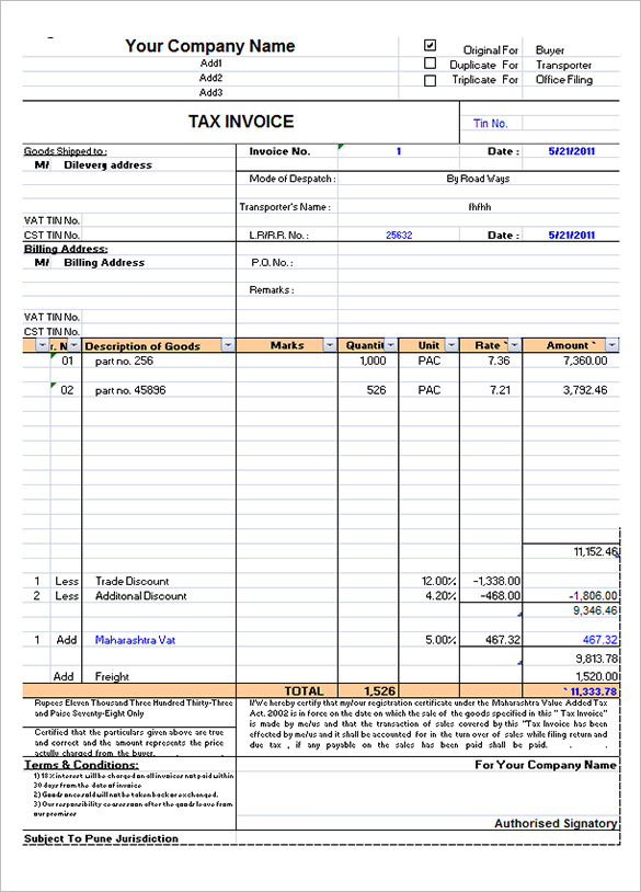 Invoice Bill Format In Excel Apcc2017