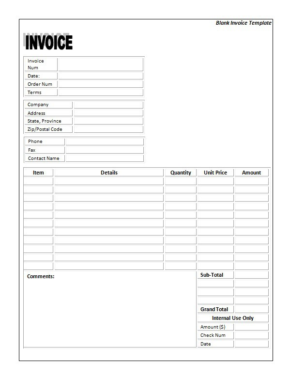 Blank Invoice Template Printable