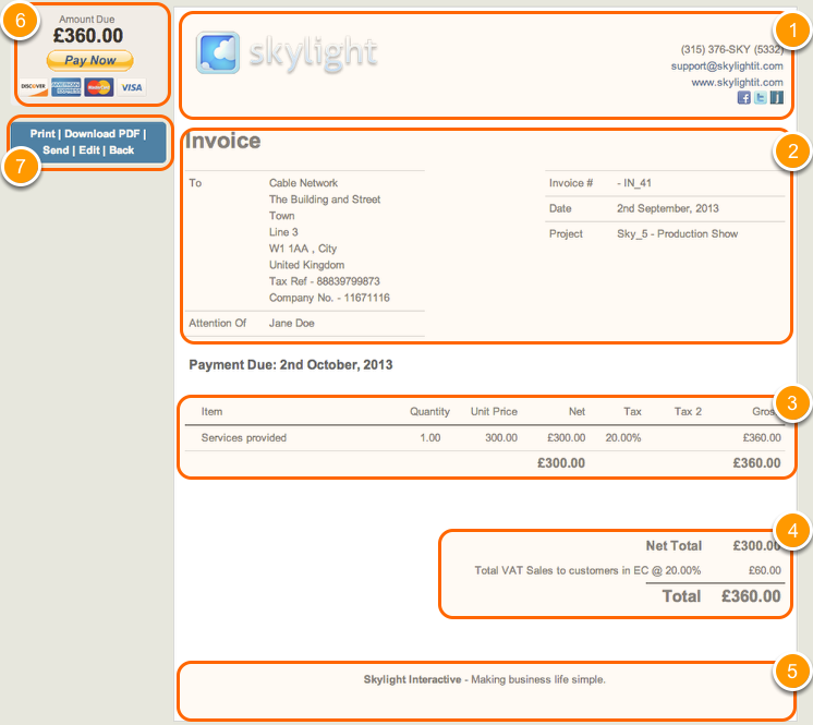 Preview, send & download an Invoice, Quote or Purchase Order