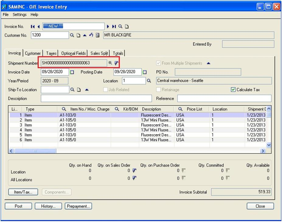 Create Single Invoice Entry from Multiple Shipment Entry in Sage
