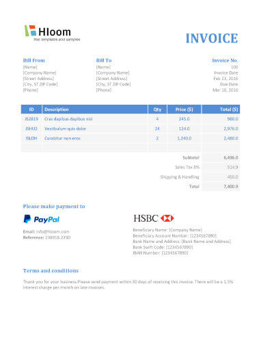 Free Invoice Templates For Word, Excel, Open Office | InvoiceBerry