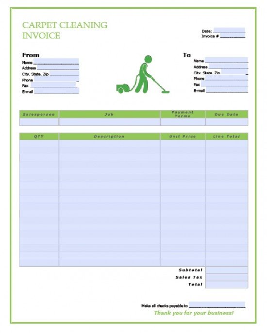 Free Carpet Cleaning Service Invoice Template | Excel | PDF | Word