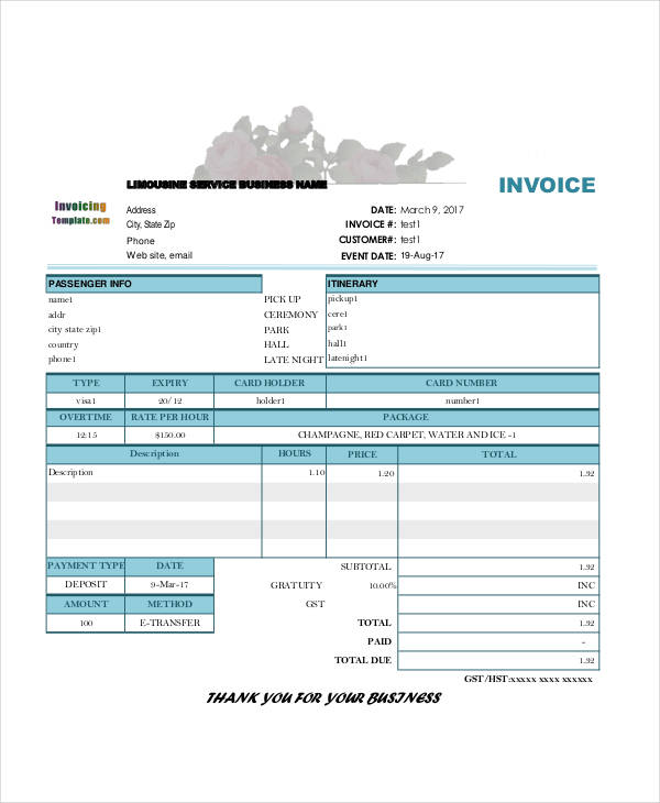 Deposit Invoice Template Printable Word, Excel Invoice Templates