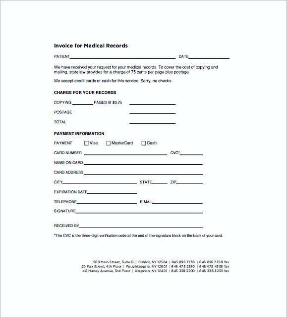 Medical Records Invoice templates , Medical Invoice Template , The