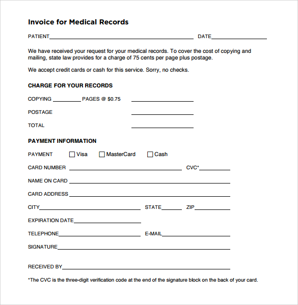 invoice for medical records template Acur.lunamedia.co