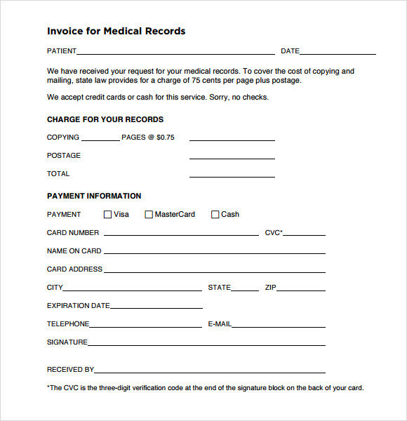 Sample Invoice For Medical Records Medical Records Invoice