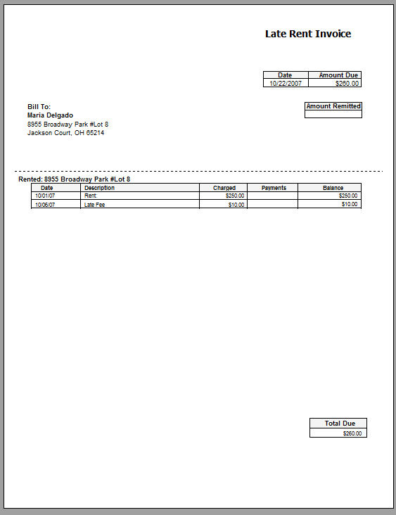 invoice for rent laterent