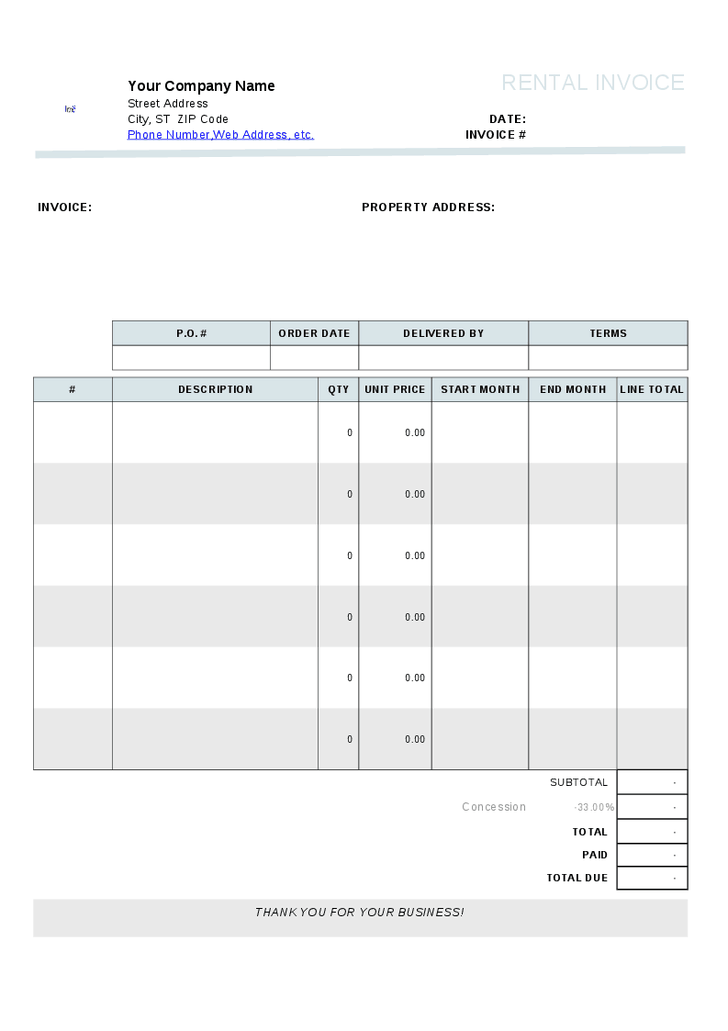 rental property invoice template rent invoice template rental