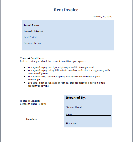 rental property invoice template rent invoice template free