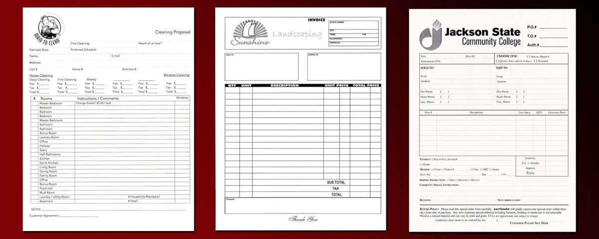 Carbon Copy Job Invoice Forms | Free Shipping