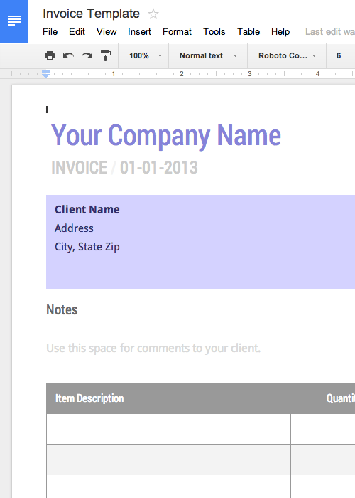 Blank Invoice Template Free for Google Docs