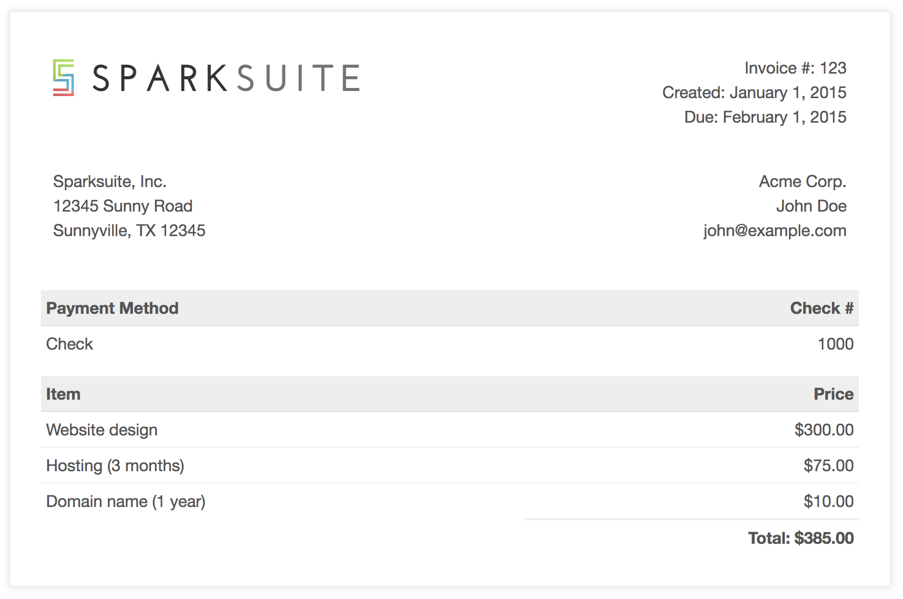 GitHub sparksuite/simple html invoice template: A modern, clean