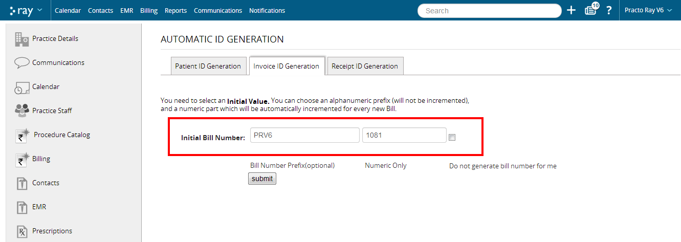 Automatic ID Generation for Patients and Invoices – Practo Help