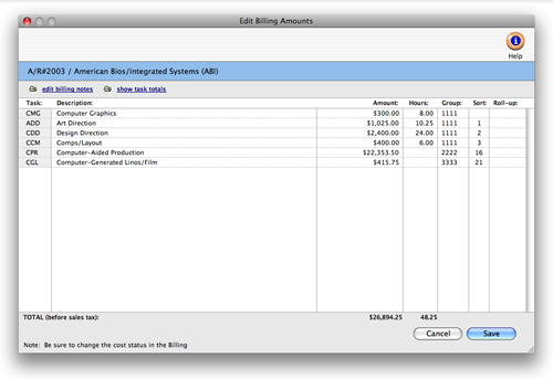 Clients & Profits X User Guide: Add, Edit, Delete Billing Amounts