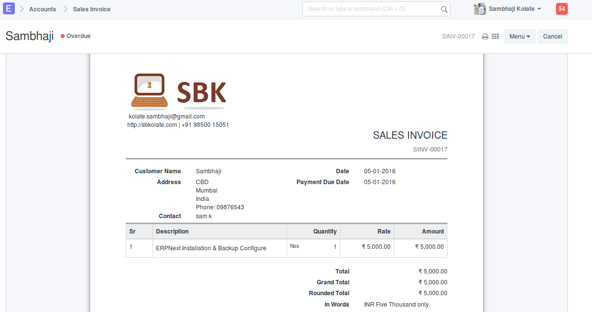 Sales Invoice for Services without creating Service Item ERPNext