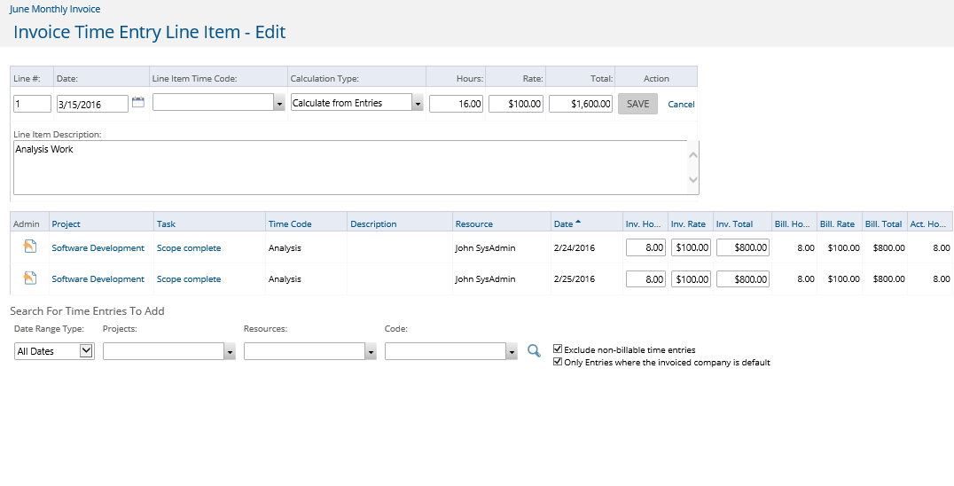 Invoice Time/Expense Entry Line Items Add/Edit