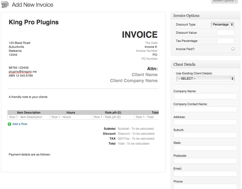 Wordpress Invoicing with custom PDF themes | King Pro Plugins