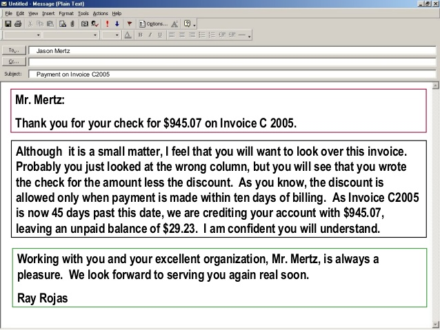 Email Invoice Template Email Invoice Message Example – dinara.me