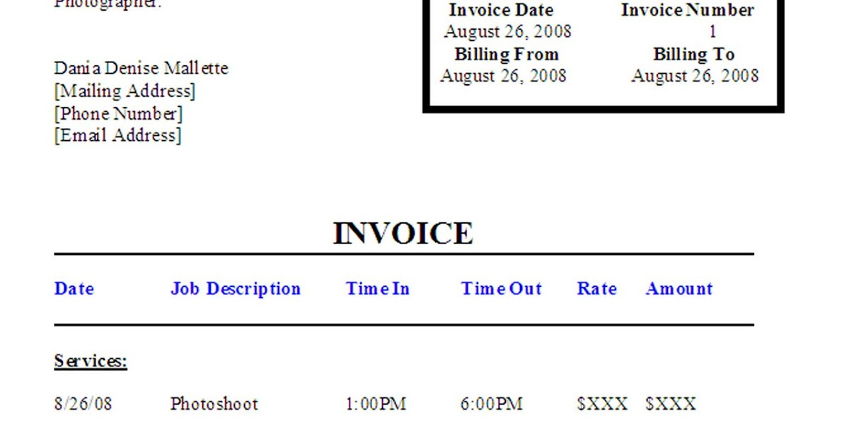 Modeling 101 A Model's Diary: Modeling Invoices