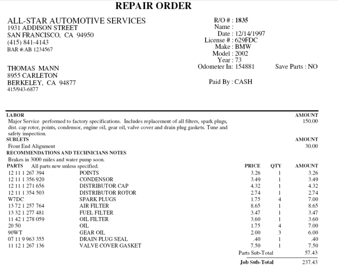 STAR Service Manager Repair Order Invoice
