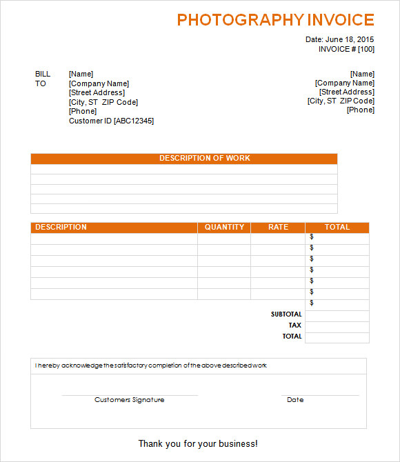 Sample Invoice For Photography Services Photography Invoice Sample