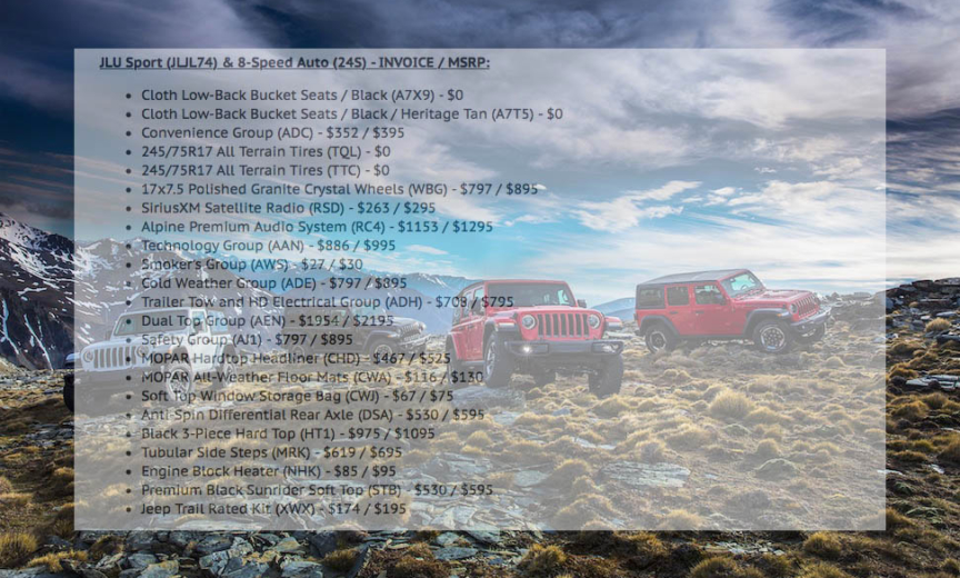 Factory Invoice Jeep Wrangler Unlimited Nice Decoration Jeep