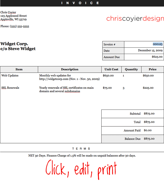 Billing Invoice Template – 6+ Free Printable Word, Excel, PDF