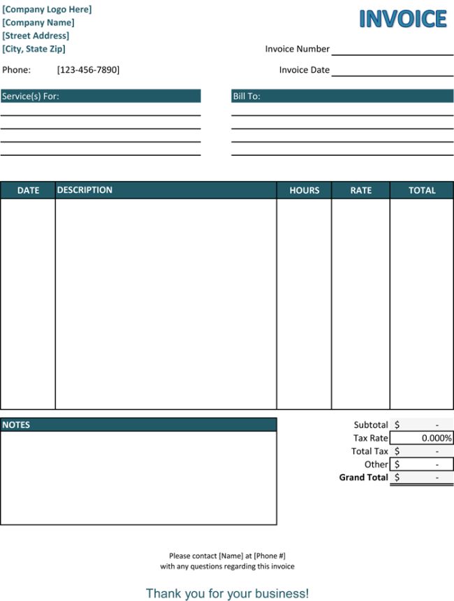 5 Service Invoice Templates For Word and Excel®