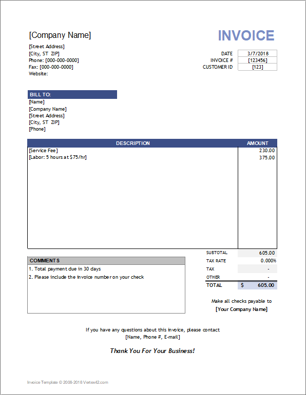 Service Invoice Template for Consultants and Service Providers