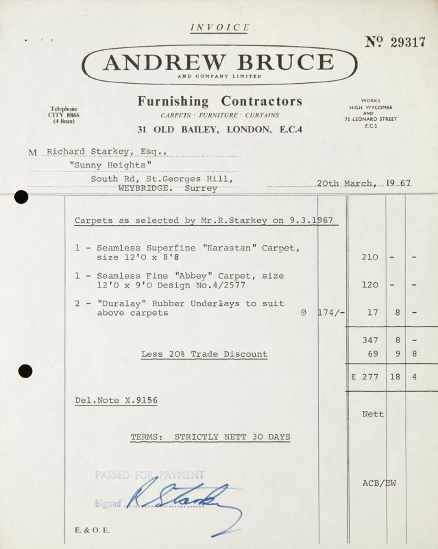 RINGO STARR SIGNED INVOICE A typed one page invoice from Andrew
