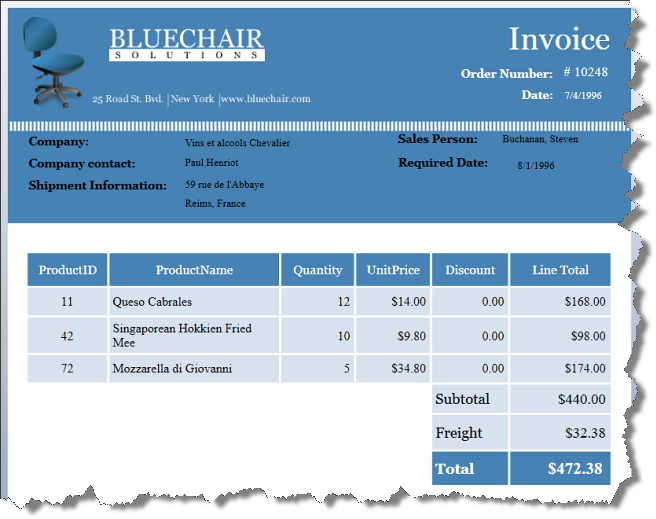 Creating an Invoice Report