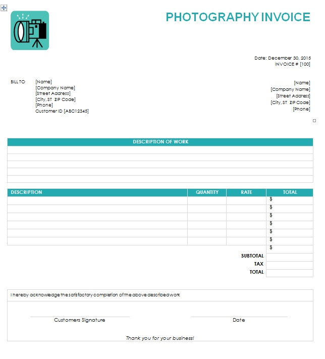 photographer invoice template free photography invoice template
