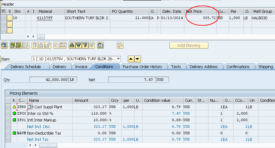Purchase order Receipt value and invoice value does not match