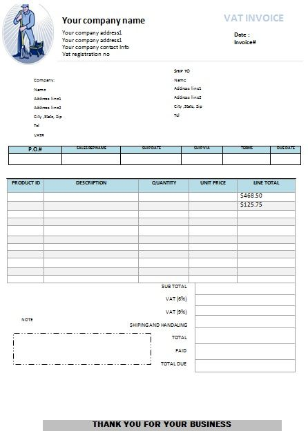 Window Washer Invoice Template